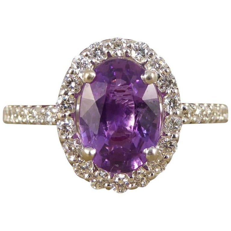 Purple Sapphire Diamond 18 Carat White Gold Engagement Ring For Sale