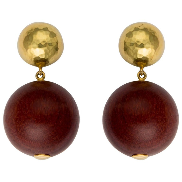 Paloma Picasso for Tiffany & Co. Gold and Wood Drop Earrings