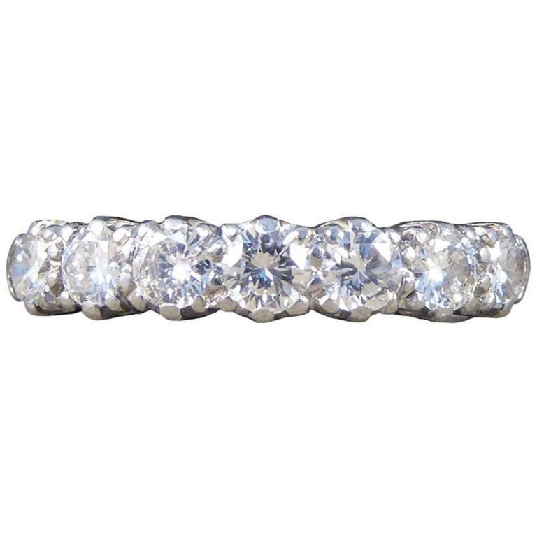 Vintage Multi Stone Diamond 18 Carat White Gold Ring For Sale