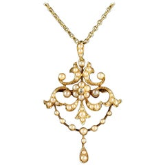 Antique Victorian Pearl Diamond 15 Carat Gold Pendant Brooch Necklace circa 1900