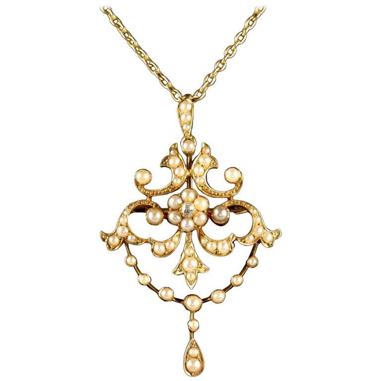 Antique Victorian Pearl Diamond 15 Carat Gold Pendant Brooch Necklace circa 1900