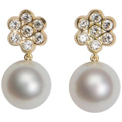 Bulgari Diamond and Pearl Drop Earrings
