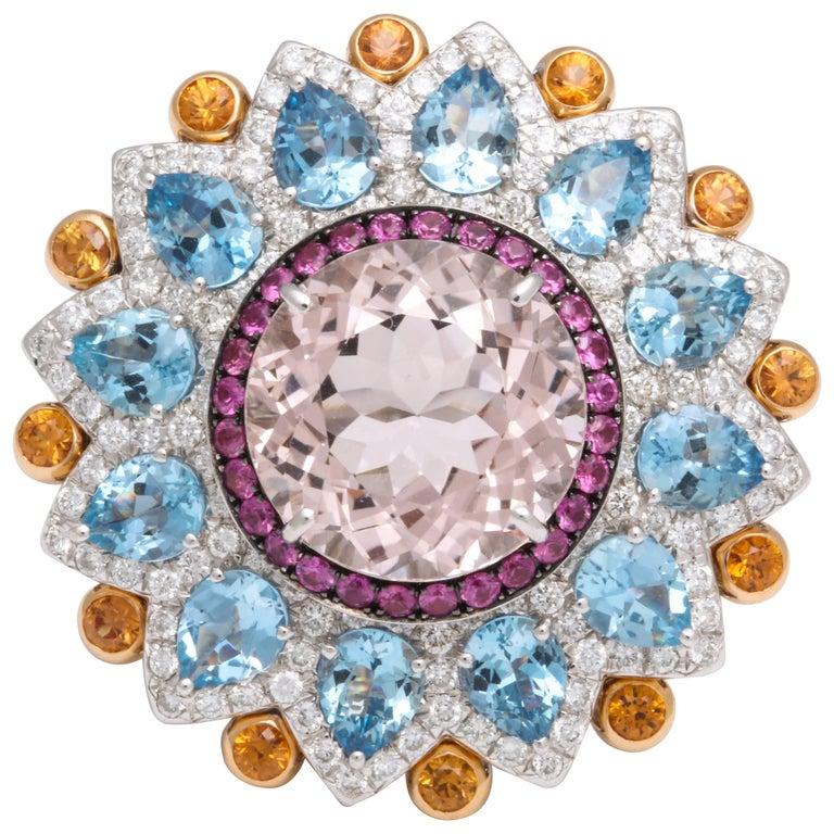 Multi-Color Kaleidoscope Sapphire and Diamond Cocktail Ring