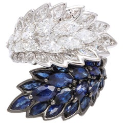 Sapphire and Diamond 18 Karat White Gold  By-Pass Cocktail Ring