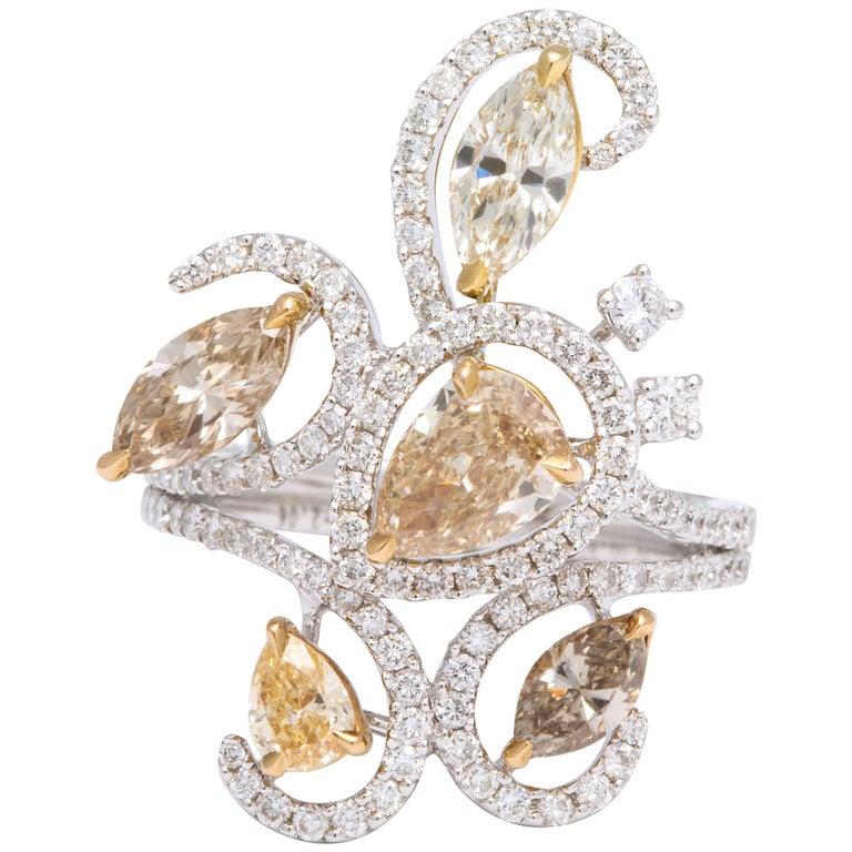 18 Karat White Gold Cluster Diamond Cocktail Ring
