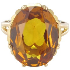 French Retro 1960s 8.90 carat Citrine 18K Yellow Gold Cocktail Ring