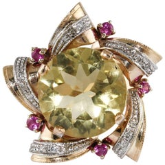 14 Karat Rose Gold Ring with Diamonds, Rubies and Topaz