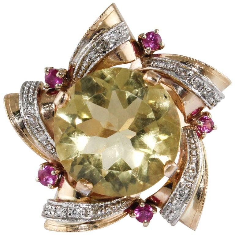 Diamonds Rubies Topaz  Rose Gold Star Ring