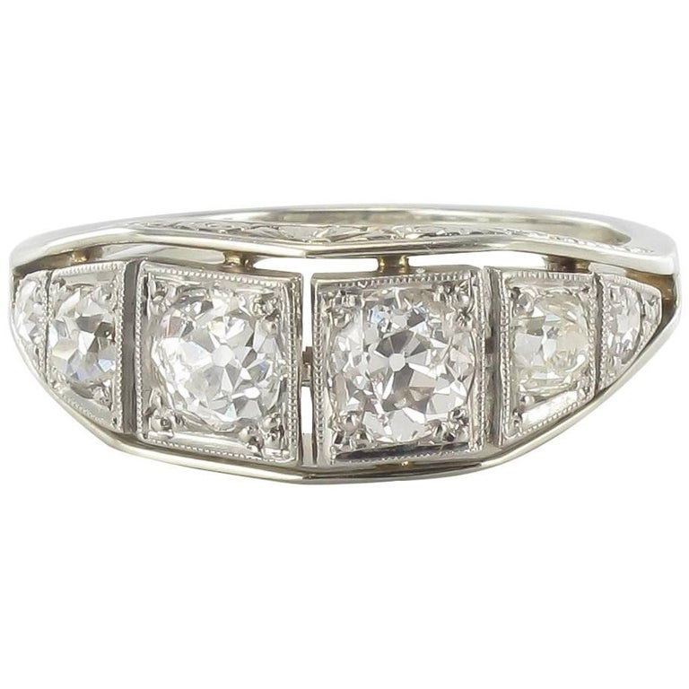 French Authentic Art deco White gold Platinium Diamond Garter Ring