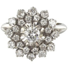 French 1960s Retro Cluster 18K White Gold 1.13 Carat Diamond Ring