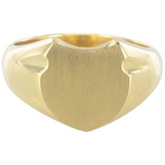 French Art Deco Men's 18 Karat Yellow Gold Signet Ring