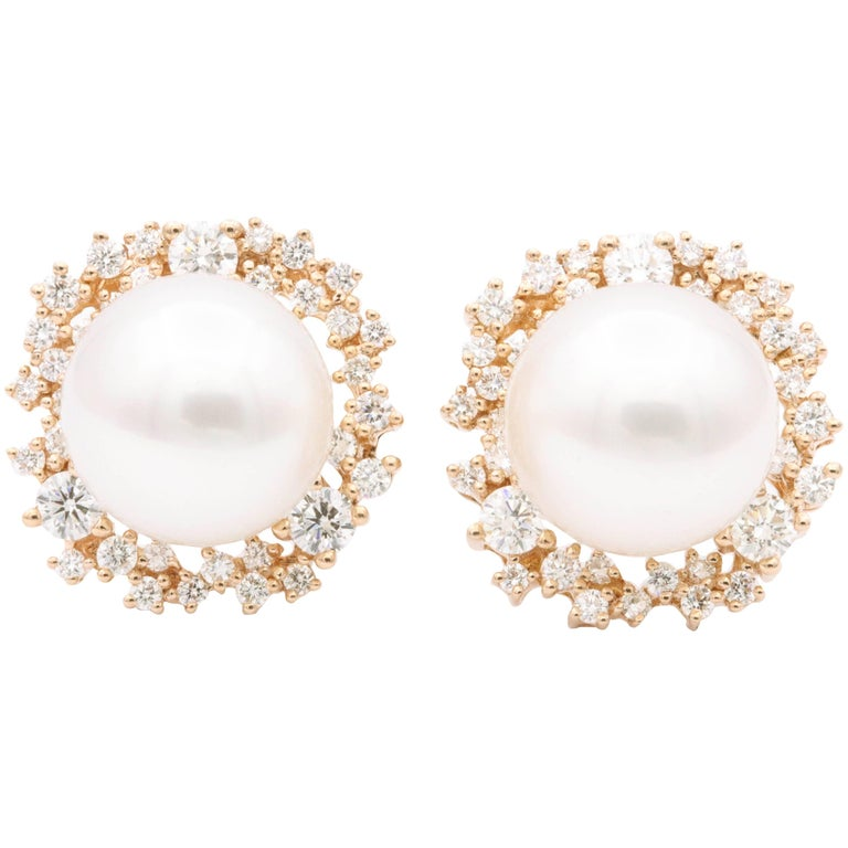 South Sea Pearl and Diamonds with Rose Gold Earrings