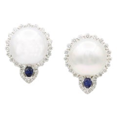 South Sea Pearl and Diamond with Sapphire Accent Studs Earrings