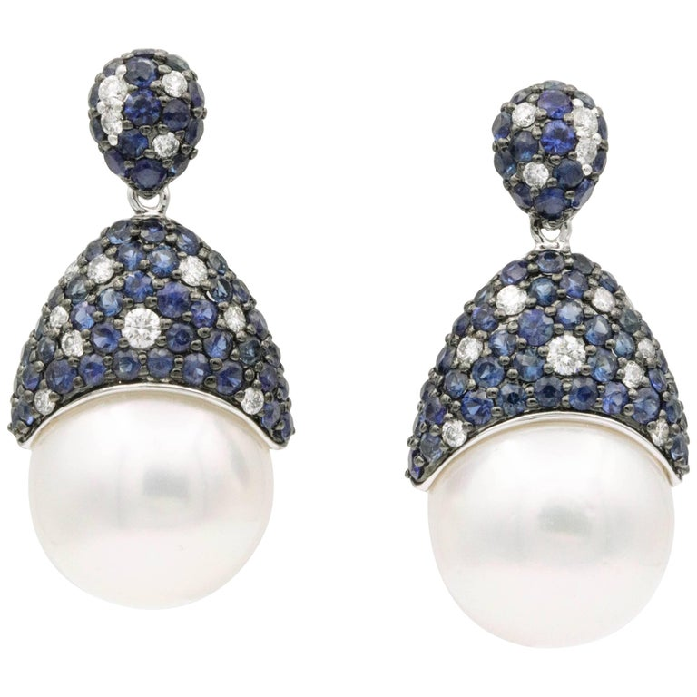 Sapphire and Diamonds with South Sea Pearl Earrings For Sale
