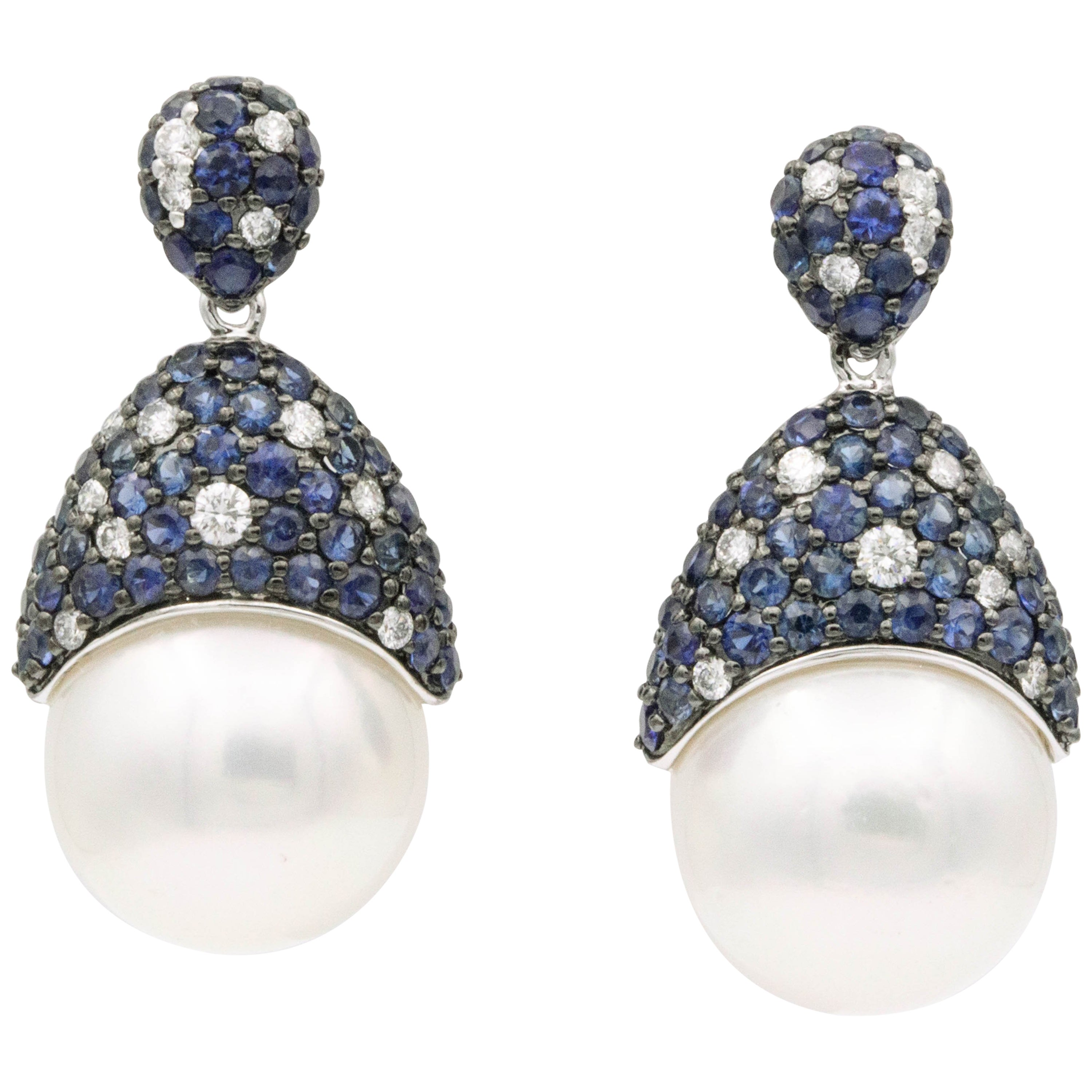 Sapphire and Diamonds with South Sea Pearl Earrings