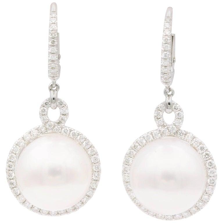 South Sea Pearl and Diamond Dangle Earrings For Sale