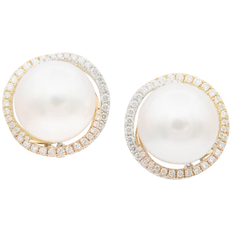 South Sea Pearl Studs and Halo Diamonds in Yellow White Rose Gold Earrings For Sale