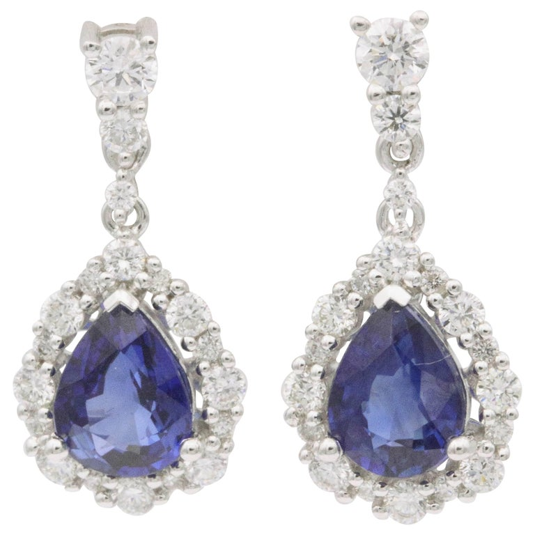 Pear Shape Sapphire and Diamond Drop Earrings