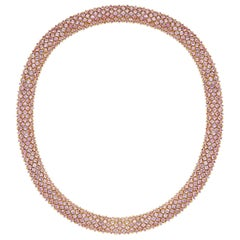 Flirt Collection 18 Karat Pink Gold Necklace in Pink Sapphire