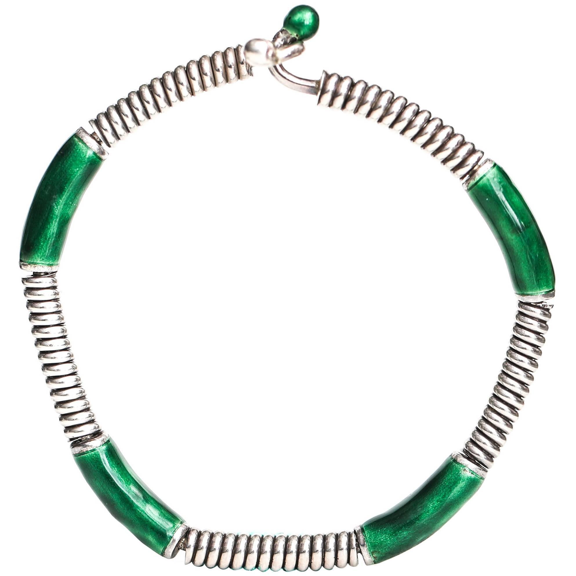 1980s Gucci Green Enamel Sterling Silver Bangle Bracelet