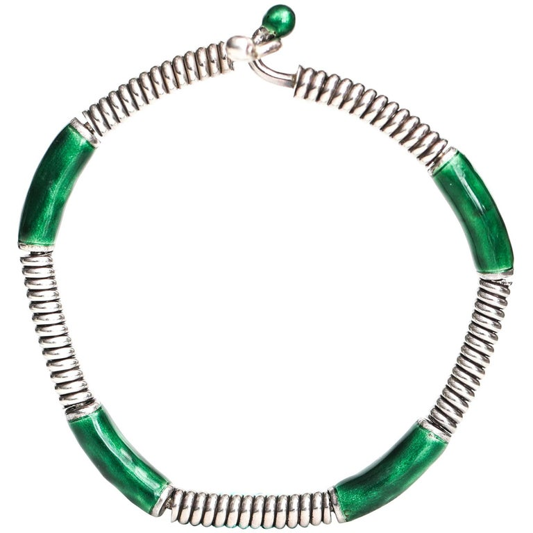 1980s Gucci Green Enamel Sterling Silver Bangle Bracelet For Sale