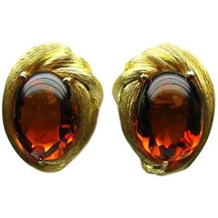Henry Dunay Rare Amber Yellow Gold Earrings