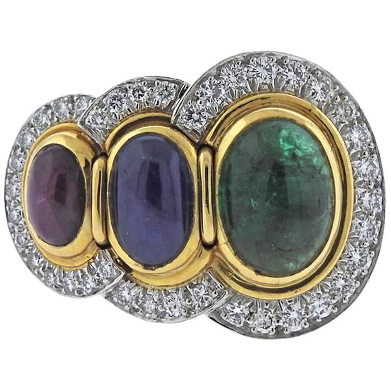 David Webb Emerald Ruby Sapphire Diamond Gold Platinum Ring
