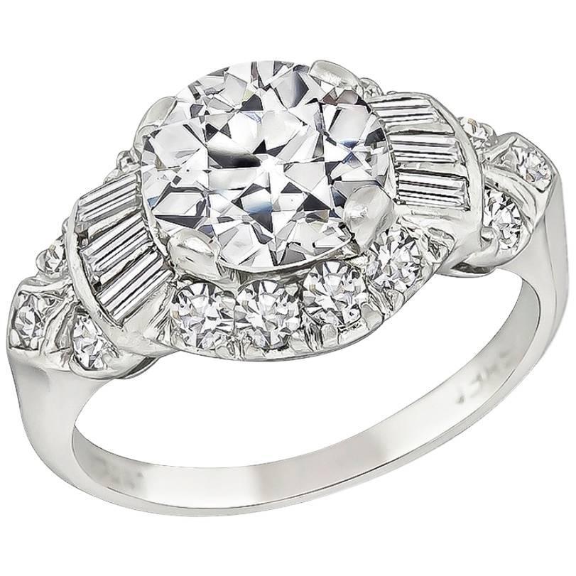 Art Deco GIA 1.60 Carat Diamond Platinum Engagement Ring