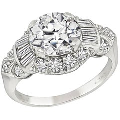 Art Deco GIA 1.60 Carat Diamond Platinum Engagement Ring