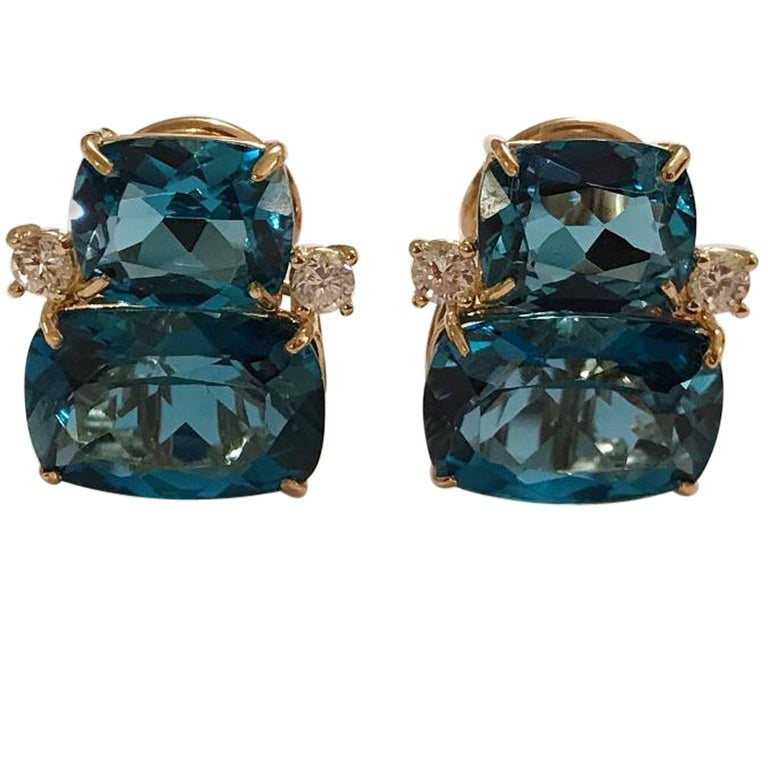 Double Cushion Blue Topaz Stone Diamond Yellow Gold Earrings