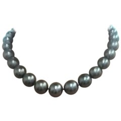 Tahitian Pearl Necklace with Pave Diamond Ball Clasp