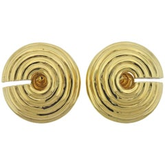 David Webb Large Gold Earrings