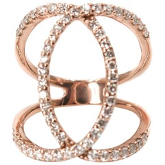 Diamond Interlocking Circles Rose Gold Ring