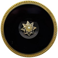 Solid Gold Hand Constructed Art Deco Pin with Large Round Onyx Stone