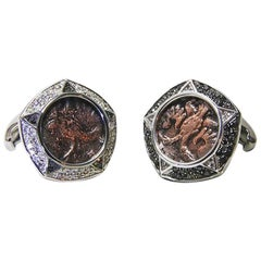 Antique Russian Coins Diamonds Cufflinks