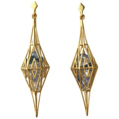 Blue Sapphire Gold Geometric Earrings