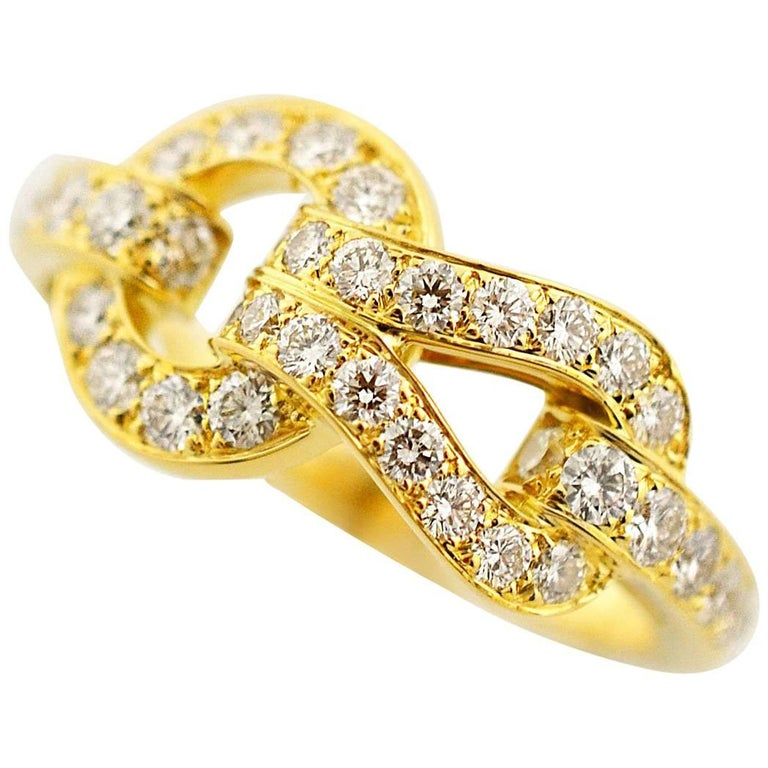 Cartier Diamond Agrafe Ring 18 Karat Yellow Gold EU 55