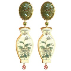 Antiques Carved Jade Peridot Gold Cabochon Tourmaline Drops Earrings