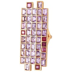Ruby Amethyst Gold Ring
