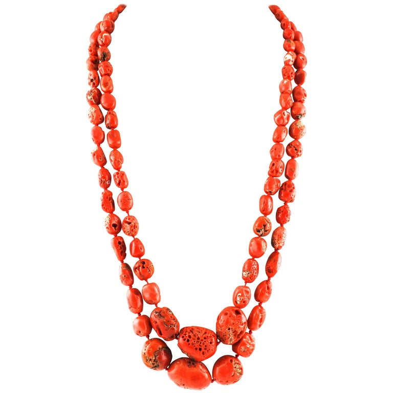 Coral Diamonds Rose Gold and Silver Double Strand Necklace