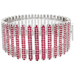 """Bangle from the Collection """"Moonlight"""" 18 Karat Gold Ruby and White Diamonds"""