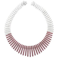 "Necklace Collection ""Moonlight"" 18 Karat White Gold Ruby and White Diamonds"