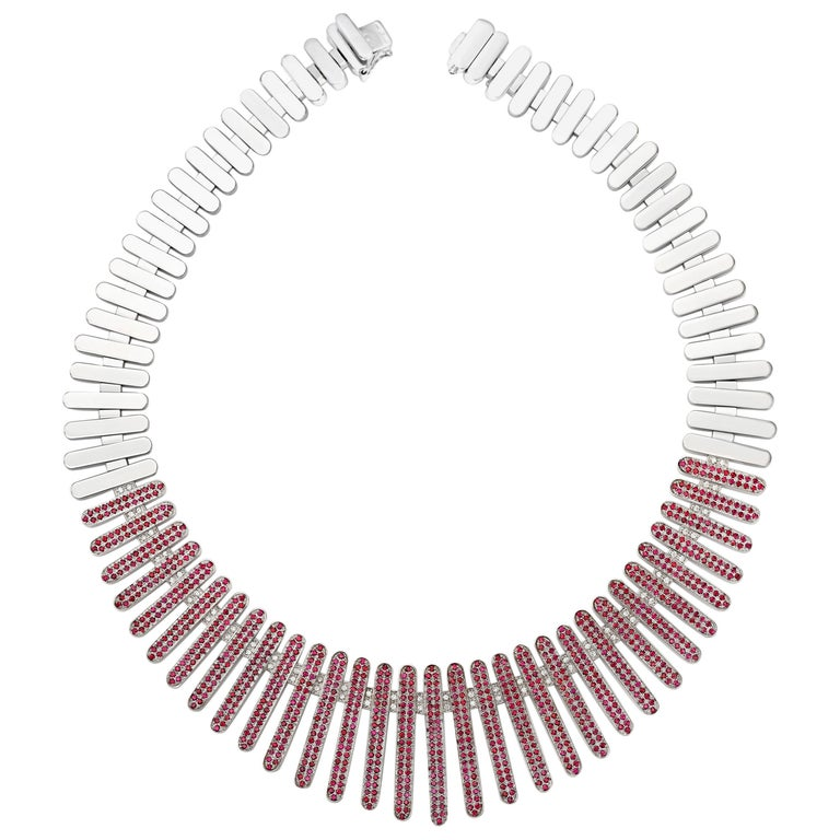 """Necklace Collection """"Moonlight"""" 18 Karat White Gold Ruby and White Diamonds"""
