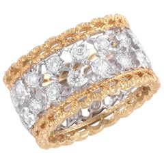 Buccellati Two-Tone Gold and Diamonds Cluster Band Ring