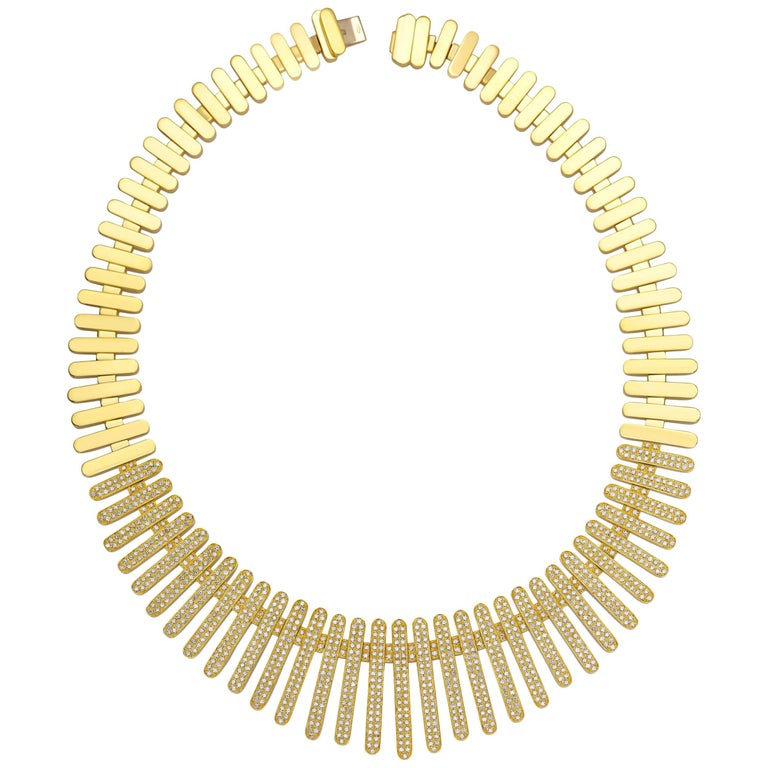"""Necklace Collection """"Moonlight"""" 18 Karat Yellow Gold and Diamonds"""