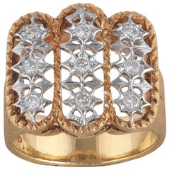 Buccellati Satin Finished Yellow Gold and Diamond Cluster Ring