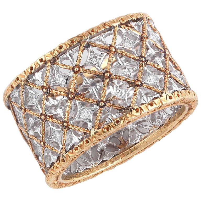 Buccellati Two-Tone Gold and Diamonds Band Ring