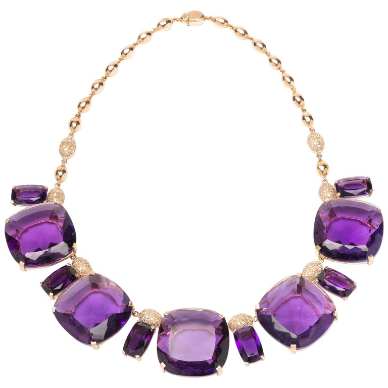 Deep Purple Amethyst Diamond Red Gold Necklace