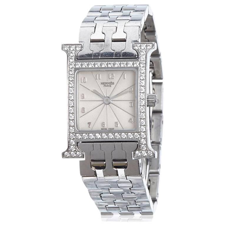 Hermes Stainless Steel Diamond Heure Quartz Wristwatch