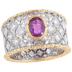 Buccellati Two-Tone Gold and Pink Sapphire and Diamonds Slanting Band Ring
